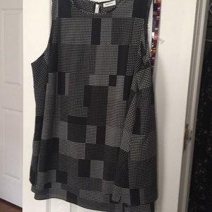 DKNY Layered Black & White Print Blouse